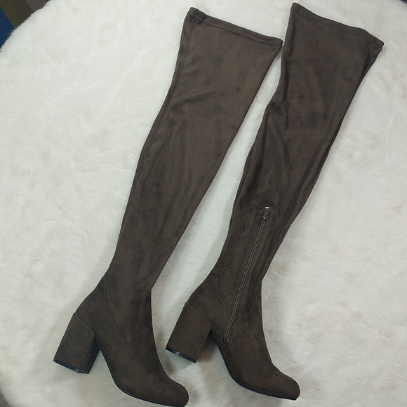 8d40a6ae6be Dark brown faux suede thigh high block heel boots
